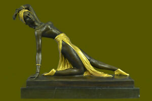 Gold Patina Signed Romanian Nude Dancer By Chiparus Bronze Sculpture Statue Sale