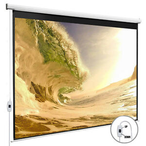 100 Electric Projection Screen 16 9 Projector Home Movie Matte White Pull Down