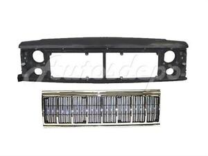 For 1991 1996 Jeep Cherokee Front Header Panel Grille Chrome Black