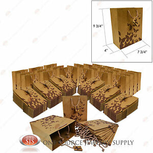 100 Brown Kraft Butterfly Paper Tote Gift Merchandise Bags 8 X 5 X 10 h