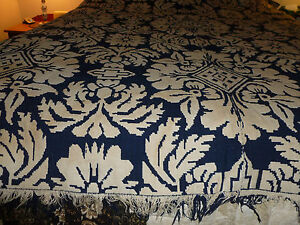 Antique Indigo Blue White Homespun Coverlet Blanket 1800 S Very Old Ver Hea
