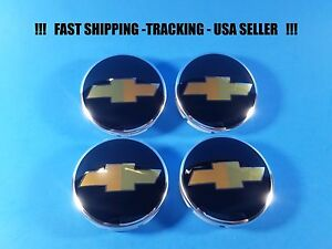 4 Center Caps Cap For Chevy Aveo Black Gold 96452311 63mm 2 5