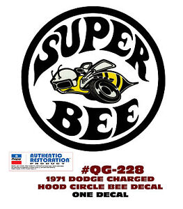 Ge qg 228 1971 Dodge Charger Super Bee Circle Hood Decal One Decal Licensed