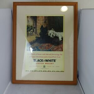 Black White Scotch Whisky Christmas New Years Poster Wooden Frame 810