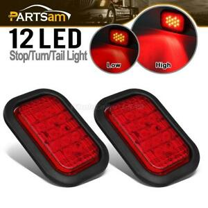 2xuniversal 5 X3 Red 12 Led Rectangular Stop Turn Tail Brake Lights Flush Mount