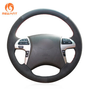 Top Design Black Suede Leather Steering Wheel Cover For Toyota Highlander Camry