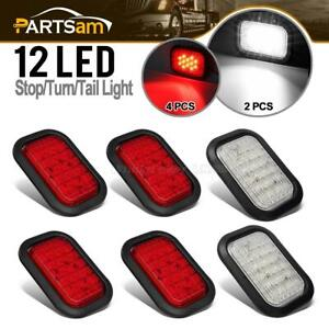 6xred White 5 X3 12led Rectangle Stop Turn Tail Truck Trailer Lamps Flush Mount