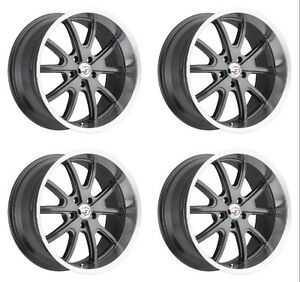 Set 4 15 Vision 143 Torque Gunmetal Machined Wheels 15x7 5x4 75 6mm Chevy 5 Lug