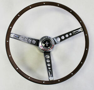New 1965 1966 Ford Mustang Pony Steering Wheel Original Look Woodgrain Deluxe