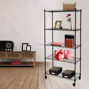 61 5 Tier Adjustable Iron Steel Wire Shelving Storage Rack With Wheels