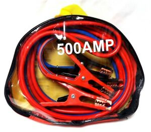 Heavy Duty 12 Ft 500 Amp 6 Gauge Battery Power Booster Jumper Cable Wires W Case