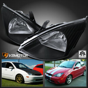 2000 2004 Ford Focus Black Diamond Headlights Head Lamps Pair