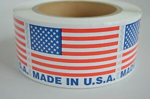 Made In The Usa Labels Usa Flag Stickers Pre printed 500 2 X 3 Bpa Free