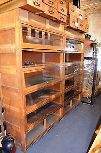 2 Vintage Walnut Built In Barrister Bookcase Cabinets Union Stamped Lowered Firm