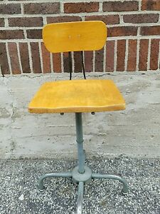 Vintage Industrial Ajusto Ajustrite Drafting Typing Chair Machine Age Stool