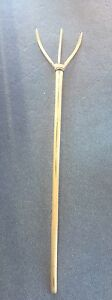 Early Primitive One Piece Wood 3 Tined Hay Or Straw Pitch Fork Old Handmade