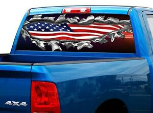 P469 American Flag Rear Window Tint Graphic Decal Wrap Back Truck Tailgate