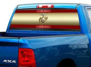 P478 Usmc Marines Rear Window Tint Graphic Decal Wrap Back Truck Tailgate