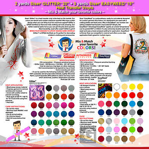 2 Yards Siser Glitter 3 Yards Siser Easyweed Heat Transfer Vinyls mix