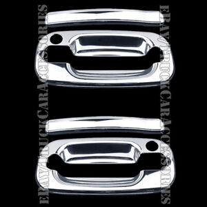 2 Chrome Door Handle Covers W Ps Keyhole For 2000 2004 2005 2006 Chevy Silverado