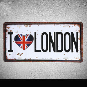 I Love London Tin Poster Vintage Metal Sign Car Plate Wall Decor Plaque 12x6