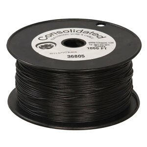 22 Awg Black Solid Tinned copper Hook up Wire 1000 Feet
