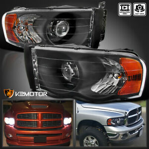 Black 2002 2005 Dodge Ram 1500 03 05 Ram 2500 3500 Retrofit Projector Headlights
