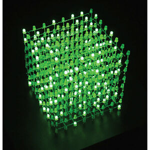 3d Green 8x8x8 Led Cube Diy Kit With Custom Pcb Programmable