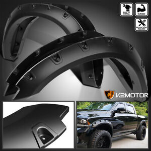 2009 2018 Dodge Ram 1500 Black Pocket Style Rivet Bolt On Fender Flares Cover