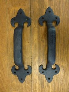 2 Brown Xl Lily Door Gate Barn Handles Pull 11 5 Rustic Antique Style Cast Iron
