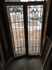 Sg 988 Match Pair Antique Leaded Glass Windows 18 5 X 58 25