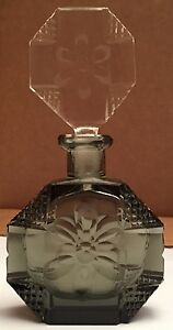 Rare Octagonal Smoke Colored Czechoslovakian Perfume Bottle With Daisy Flower