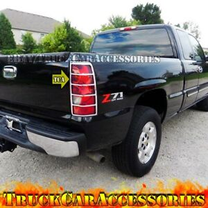 Chrome Rear Taillight Tail Light Covers For 2003 2004 2005 2006 Chevy Silverado
