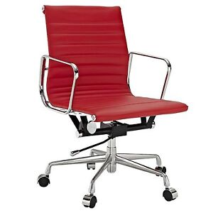 Eames Office Chair Ribbed Mid Low Back Aluminum Group Reproduction Leather Red