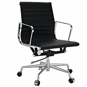 Ag Office Chair Ribbed Mid Low Back Aluminum Group Reproduction Leather Black