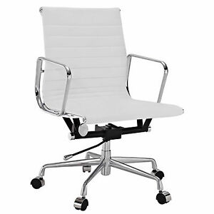Eames Office Chair Ribbed Mid Low Back Aluminum Group Reproduction Leather White