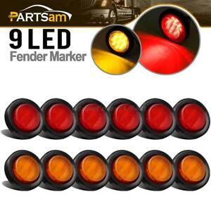 2 amber red Sealed Round Rv Trailer Clearance side Marker Light Front rear Qty12