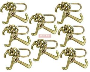 8 Pack Rtj Cluster Hook Heavy Duty Wrecker Hauler Tow Towing Truck Chain Pair
