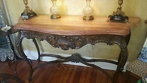 Antique Carved Walnut Marble Top Console Table 69