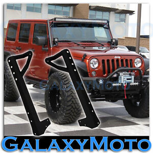 50 Led Light Bar Steel Windshield Mounting Brackets For 07 17 Jeep Wrangler Jk