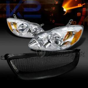 For 2003 2008 Toyota Corolla Crystal Headlights black Front Mesh Hood Grille
