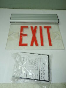 Red Led Emergency Exit Light Sign Ceiling Edge Lit Battery Backup Alum Single