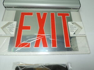 Red Led Emergency Exit Light Sign Ceiling Edge Lit Battery Backup Alum Dual