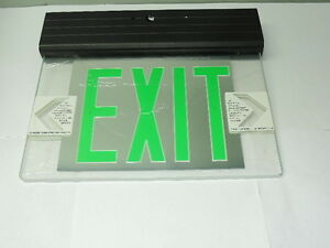 Green Led Emergency Exit Light Sign Ceiling Edge Lit Battery Backup Black Dual