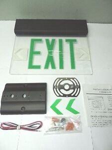 Green Led Emergency Exit Light Sign Ceiling Edge Lit Battery Backup Black Single