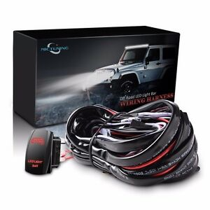 Mictuning 16awg Wiring Harness Red Led Light Bar Rocker Switch 40a Relay Fuse