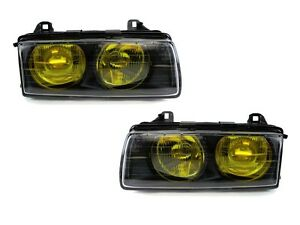 French Edition Yellow Glass Lens Depo Euro Projector Headlight For 92 99 Bmw E36