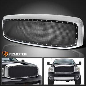 2006 2008 Dodge Ram 1500 2500 3500 Chrome Rivet Style Ss Wire Mesh Grille Shell