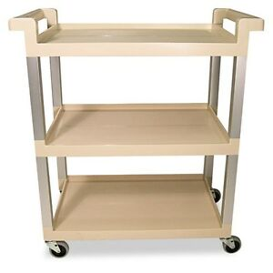 Rubbermaid Commercial Three shelf Service Cart With Brushed Aluminum 9t6571bg