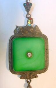 Vtg Art Deco Egyptian Revival Brooch Pin Sphinx Serpents Pyramid Jade Glass